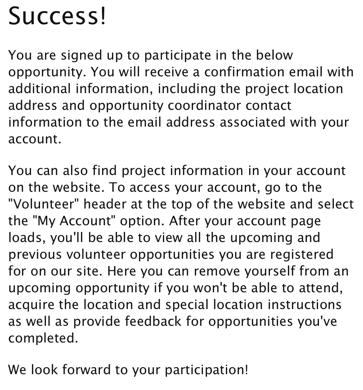 Successfully booked opportunity
