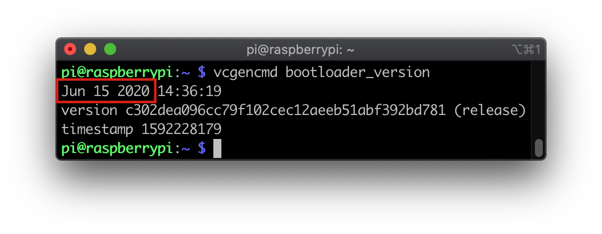 Raspberry Pi bootloader version output