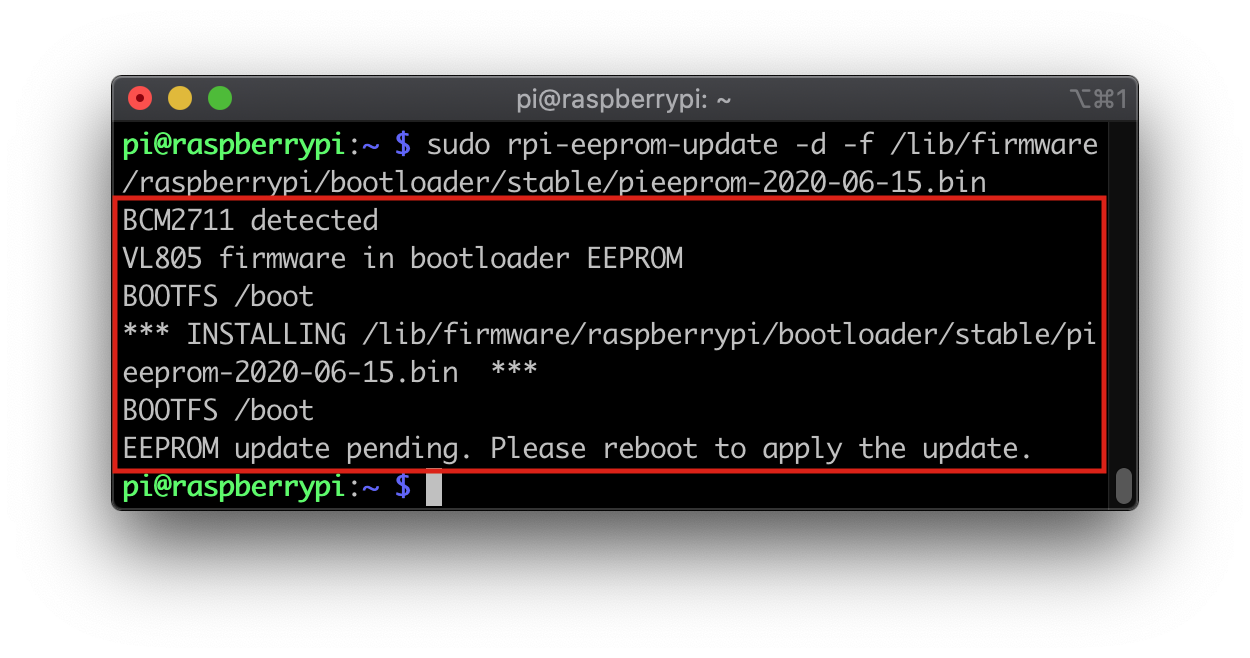 rpi-eeprom-update command output