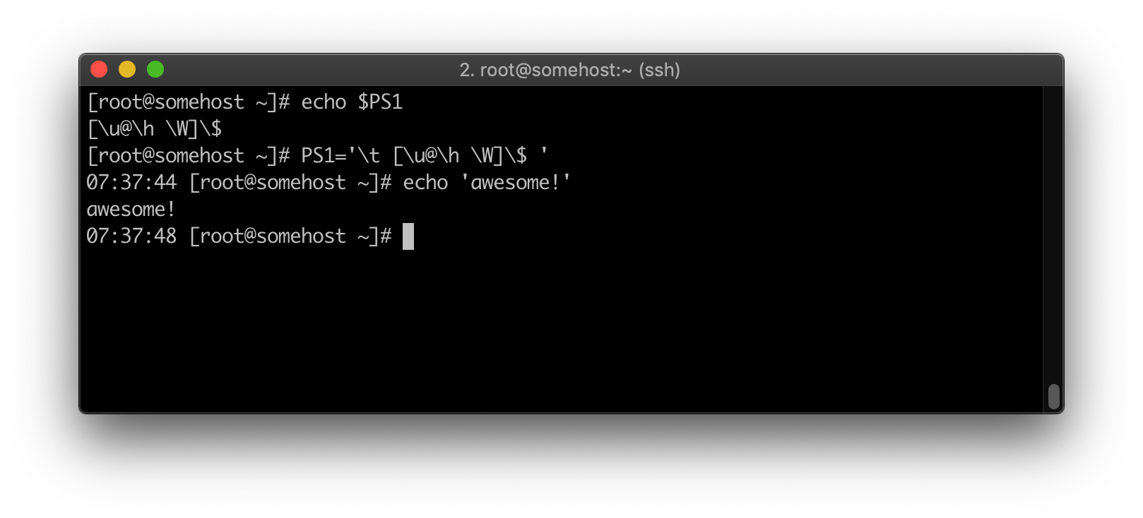bash prompt changing PS1 variable temporarily