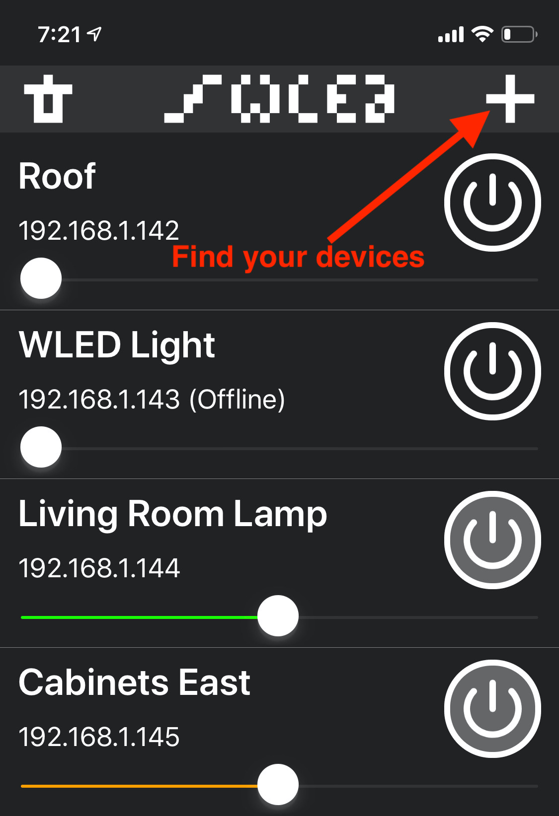 WLED app showing devices