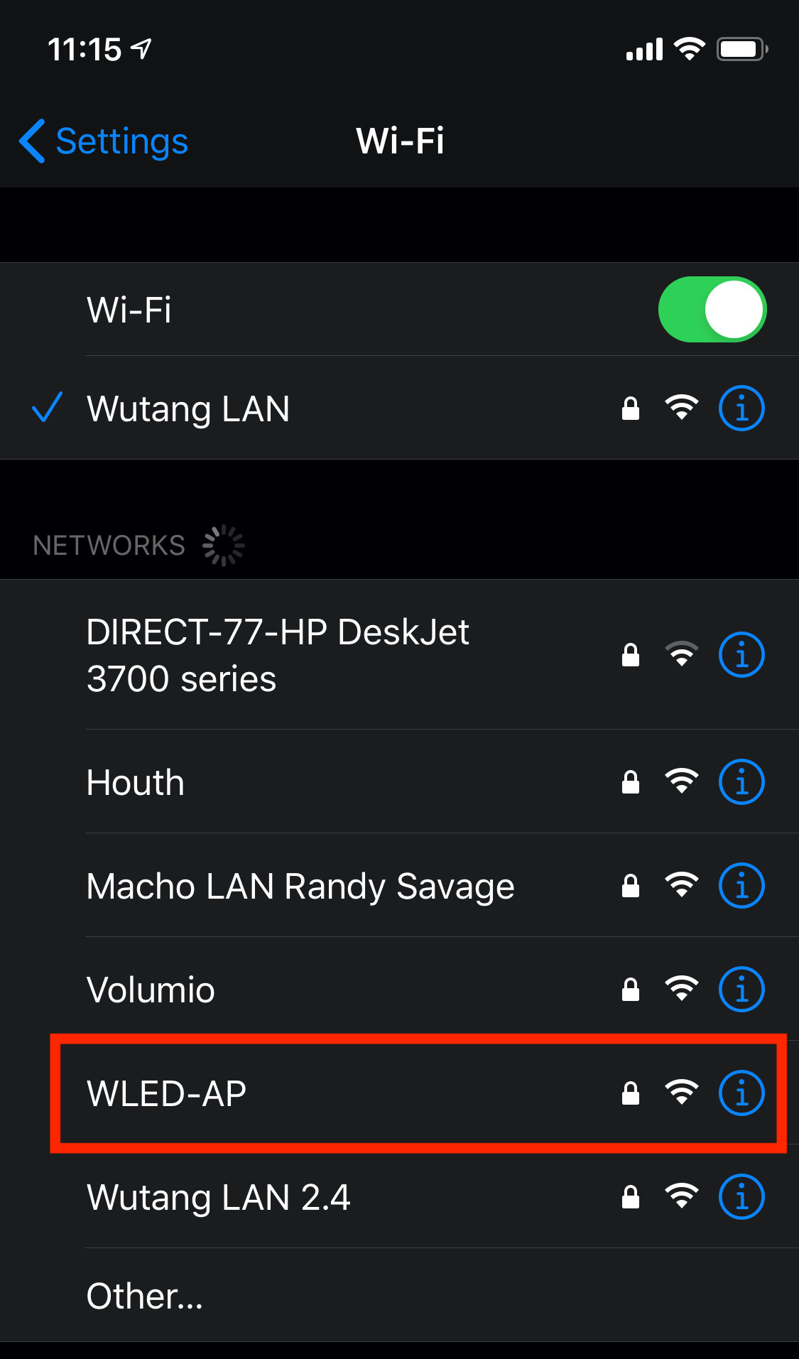 WLED wifi access point SSID