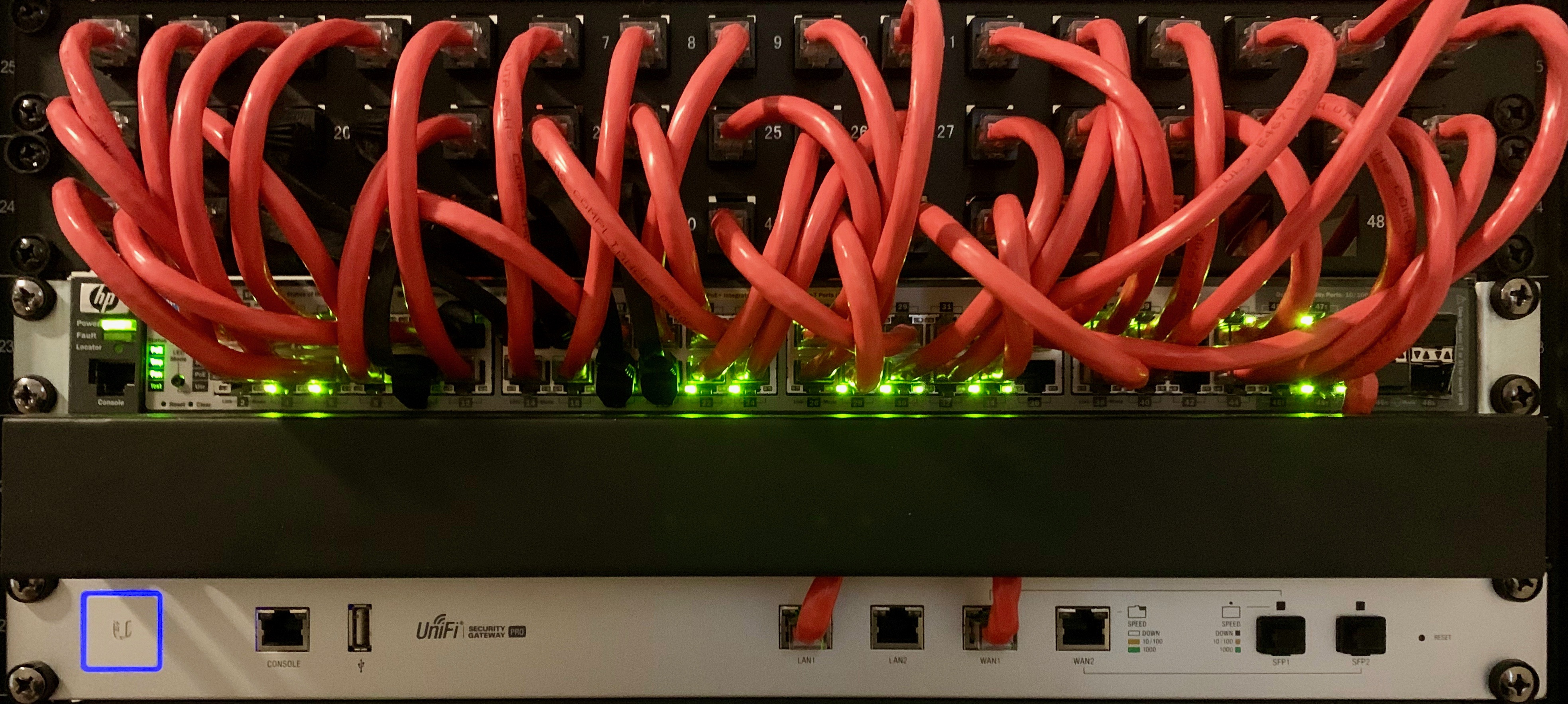 networking equipment mounted in rack