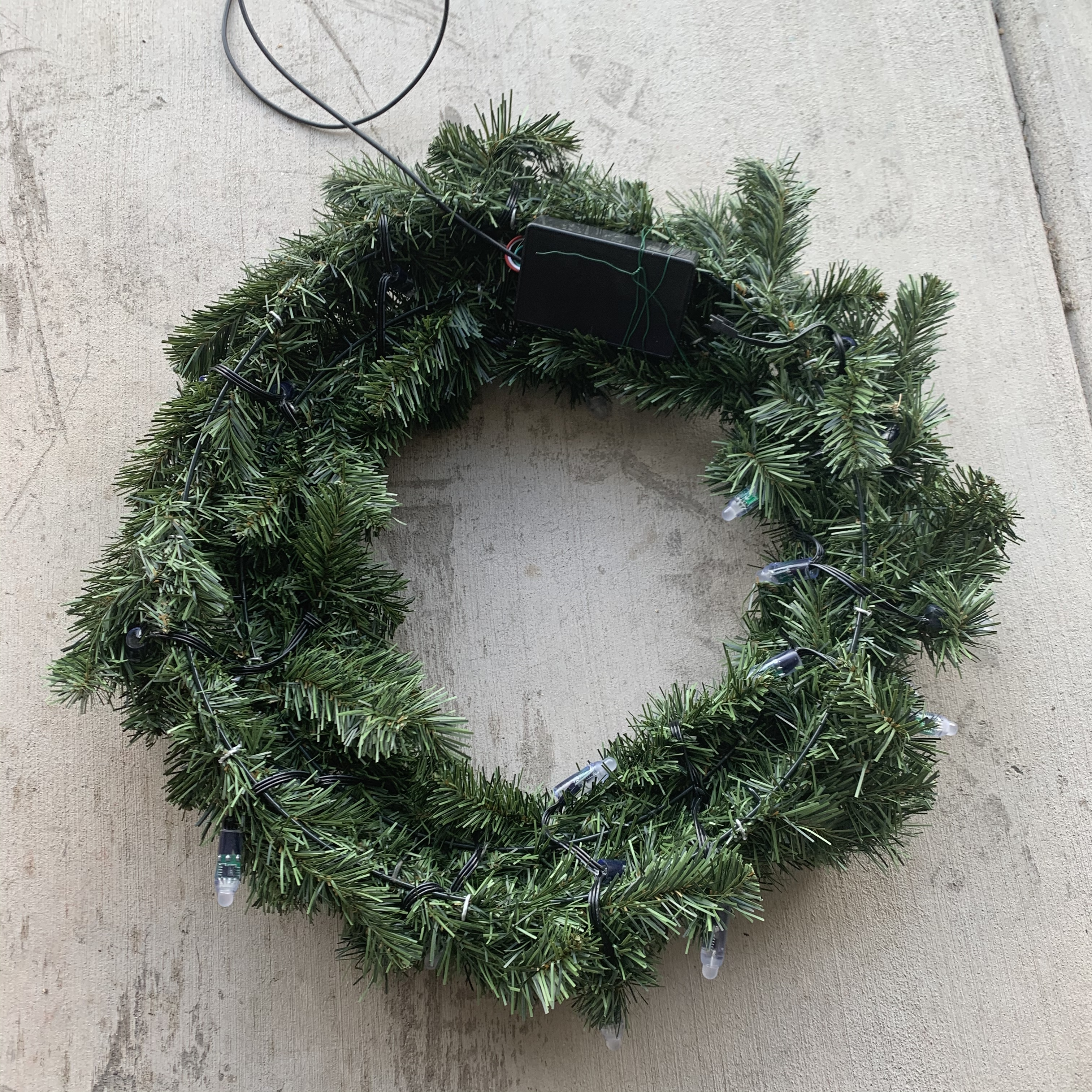 Back of wreath with WS2811 LEDs and project box
